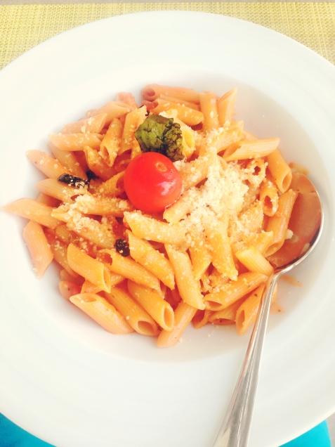 Leckere Pasta als Lunch im Beach Club. © katrin-lars.net